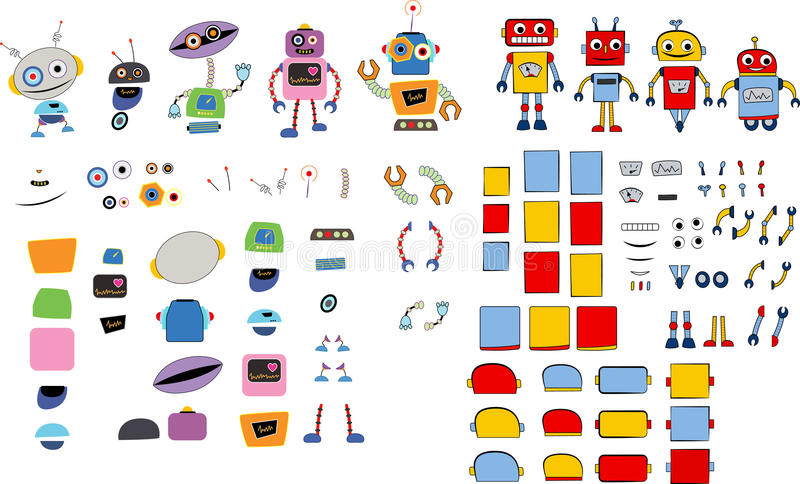 Various robots and spare parts. For your own robot stock illustration