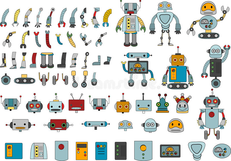 Various robots and spare parts for your own robot. In color vector illustration