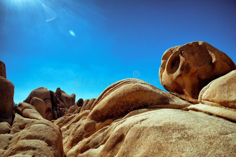 Various rocks at Joshua Tree National Park stock images