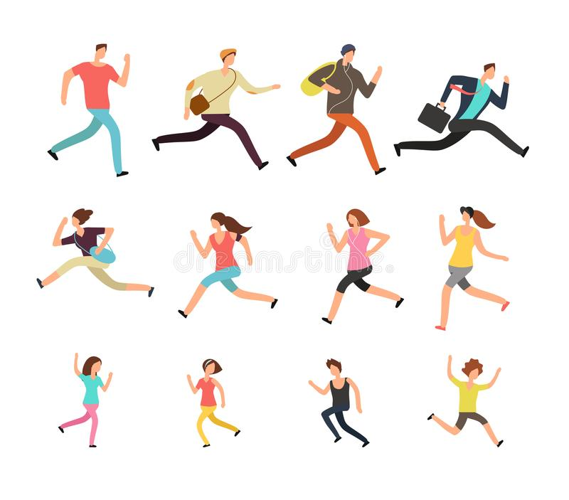 Various running people. Hurrying active male, female and kids vector set vector illustration