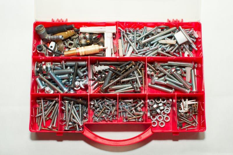 Various Screws in Tool Box stock photo