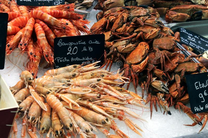 Various seafood at fish market in Le Treport, France. Crabs and langoustes. Various seafood at fish market in Le Treport, France. Crabs and langousts. Text royalty free stock photography