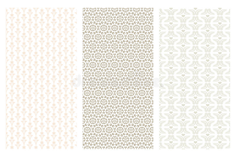 3 various seamless pattern in retro style. Isolated on white royalty free illustration