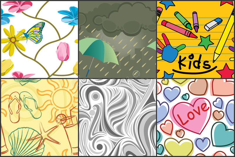 Various seamless patterns stock illustration