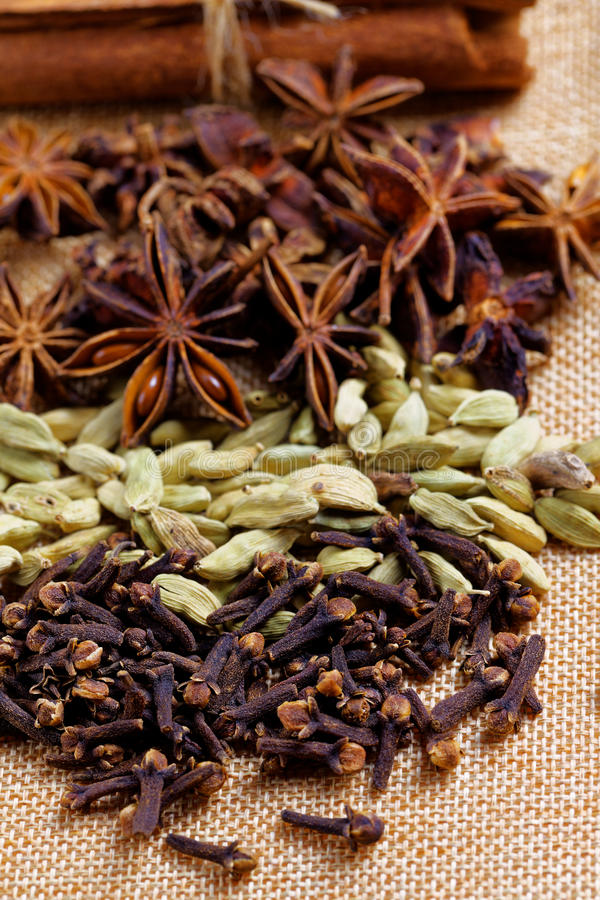 Various seasonings for cooking, Star Anise Cardamom, Clove, Cinnamon. stock image