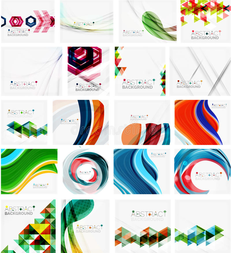 Various set of geometric abstract backgrounds stock illustration