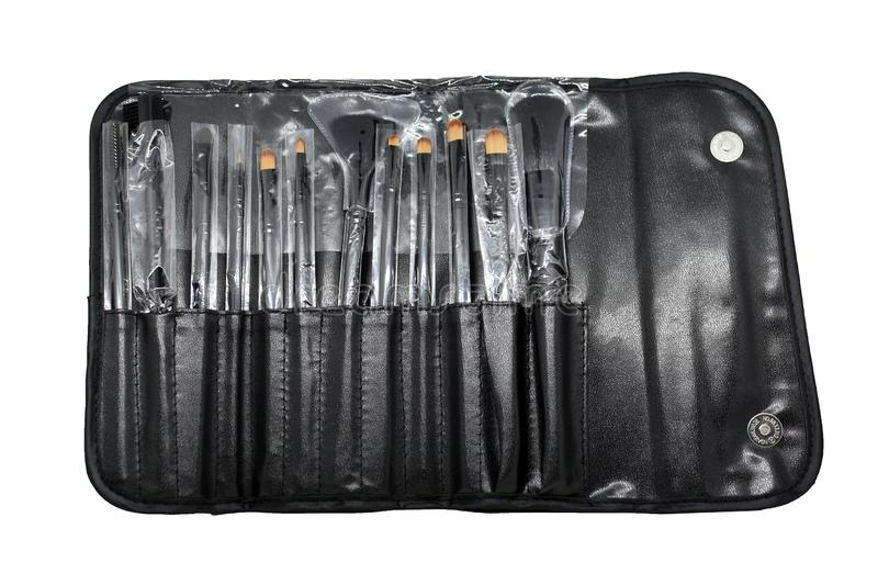 Various set of professional makeup brushes isolated on  white background royalty free stock photography