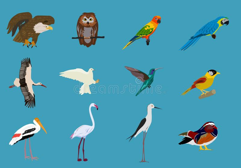 Various sets of birds Blue background,animals vector royalty free illustration