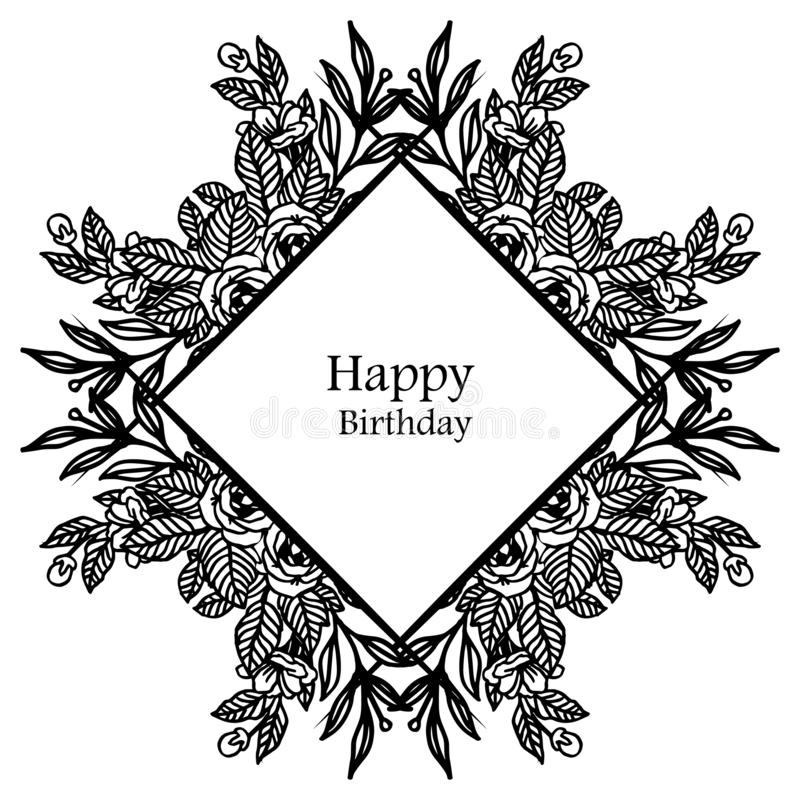 Various shape of wreath frame, style vintage, branches leaves, design greeting card, invitation card happy birthday. Vector vector illustration