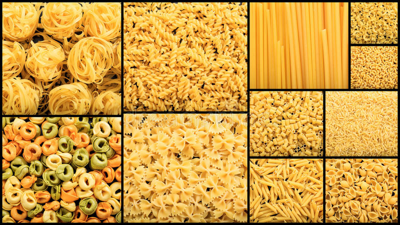 Various shapes of raw pasta collage stock image
