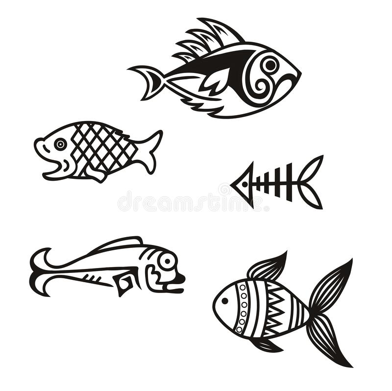 Various simple fish silhouettes in vector royalty free stock photography