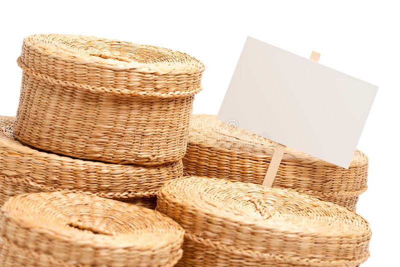 Various Sized Wicker Baskets With Blank Sign Stock Images