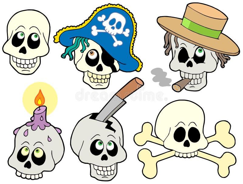 Various skulls collection vector illustration