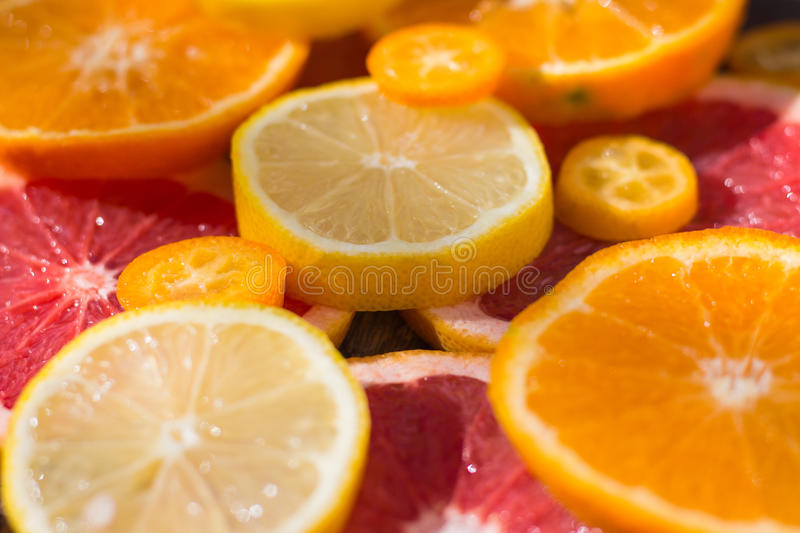 Various sliced citrus royalty free stock images