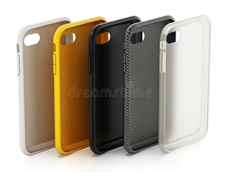 Various smartphone covers isolated on white background. 3D illustration stock illustration