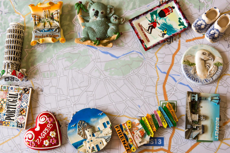 Various souvenir magnets from several world country royalty free stock photography