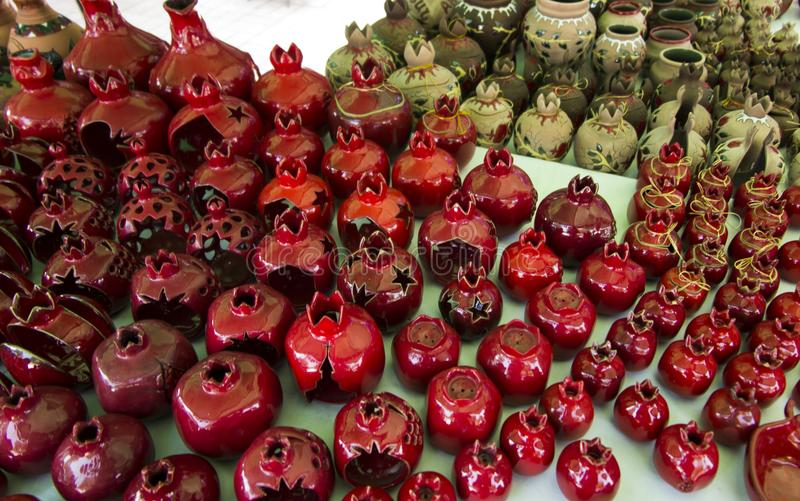 Souvenirs from Armenia with pomegranate motif royalty free stock photos