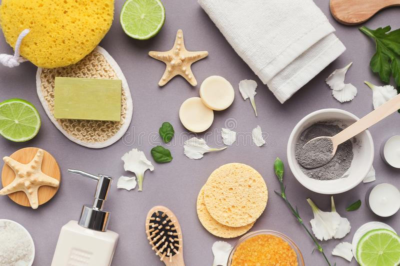 Various spa and beauty threatment products on background stock photos