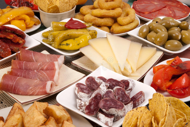 Various Spanish tapas. Variety of traditional Spanish tapas royalty free stock images