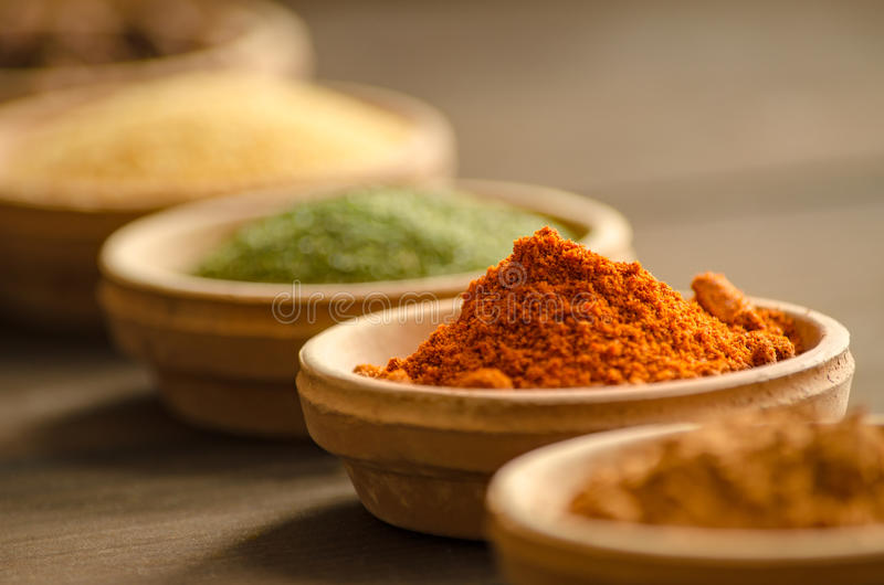 Various spices in ceramic bowls with selective focus on dried chilly stock images