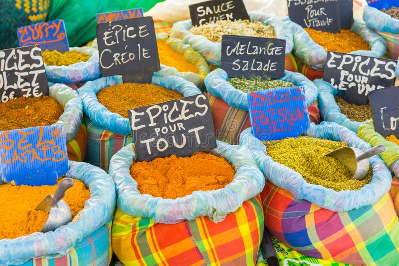 Various spices on a food market. In Sainte-anne, Grande-Terre, Guadeloupe stock image