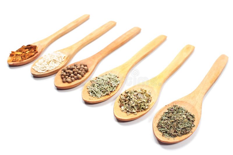 Various spices isolated. On white stock photography