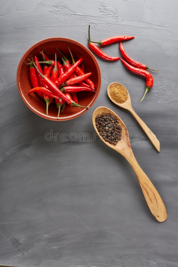 Various spices. Peppers royalty free stock photos
