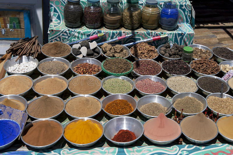Various spices, seeds and grains in the Aswan region of Egypt. royalty free stock image