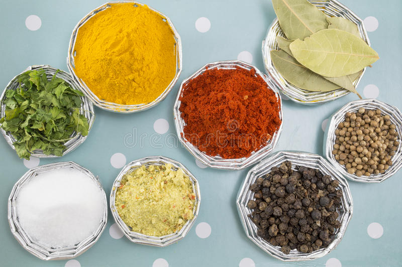 Various spices in shiny bowls on a blue background royalty free stock photo