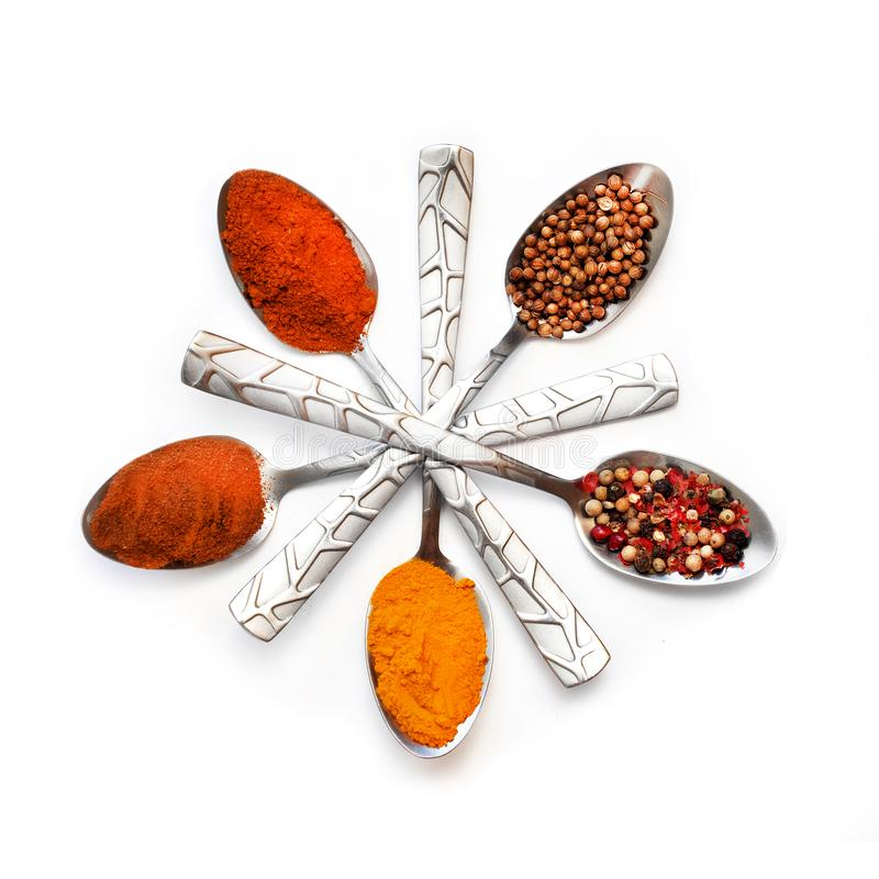 Various spices in spoons stock images