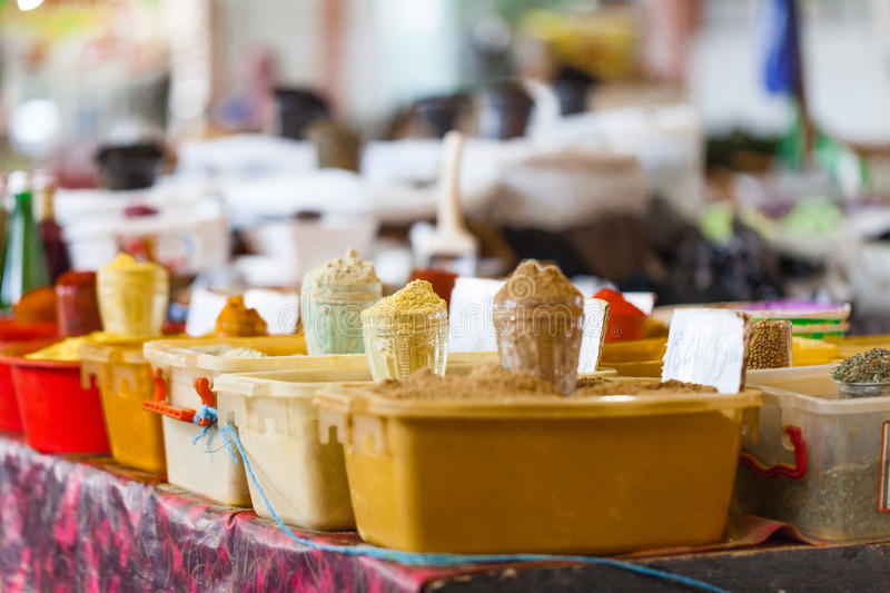Various spices from the street market with various food and drinks. Food market in Georgia stock photo