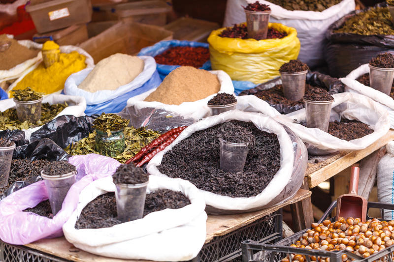 Various spices from the street market with various food and drinks. Food market in Georgia royalty free stock photos