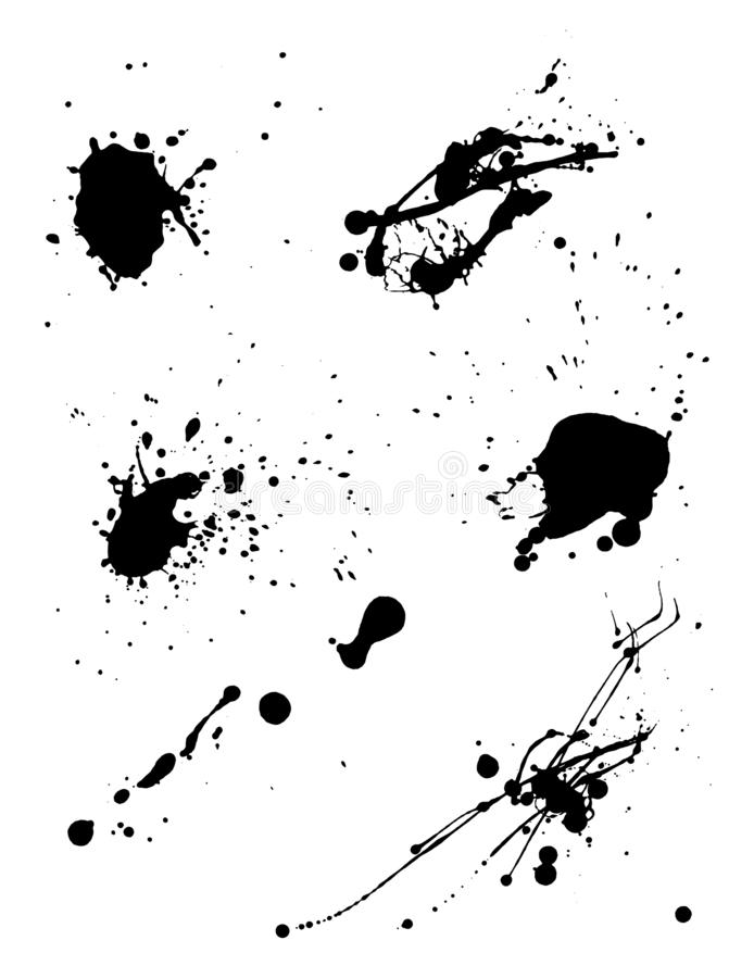 Various spray paint graffiti decorative splatters. Vector illustration. Various Spray paint graffiti decorative splatters. Vector splat set on white background royalty free illustration