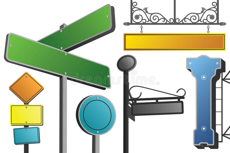 Download Various street signs stock vector. Image of blue, frames - 18846576