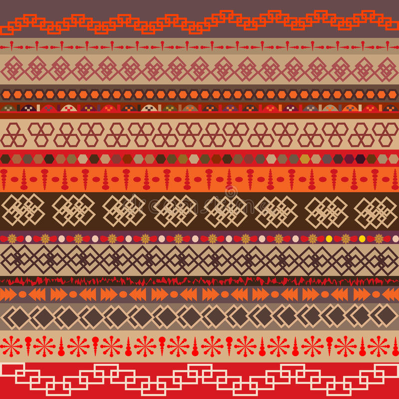 Set Of Ethnic Motifs With Multicolored Elements Stock