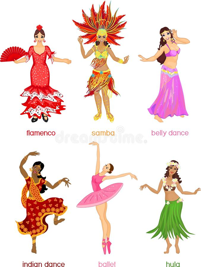 Various style dancing. stock illustration