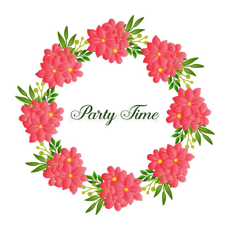 Various style green leafy flower frame, for design of party time card. Vector. Illustration vector illustration