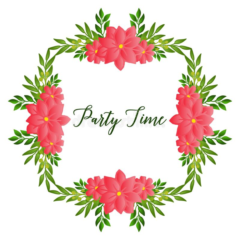 Various style green leafy flower frame, for design of party time card. Vector. Illustration royalty free illustration