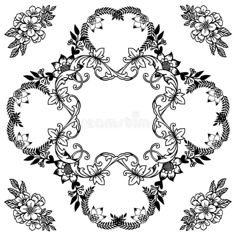 Various style unique flower frame, template for design card. Vector stock illustration