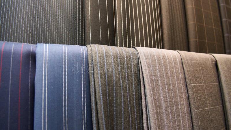 Various suit fabrics close-up stock images
