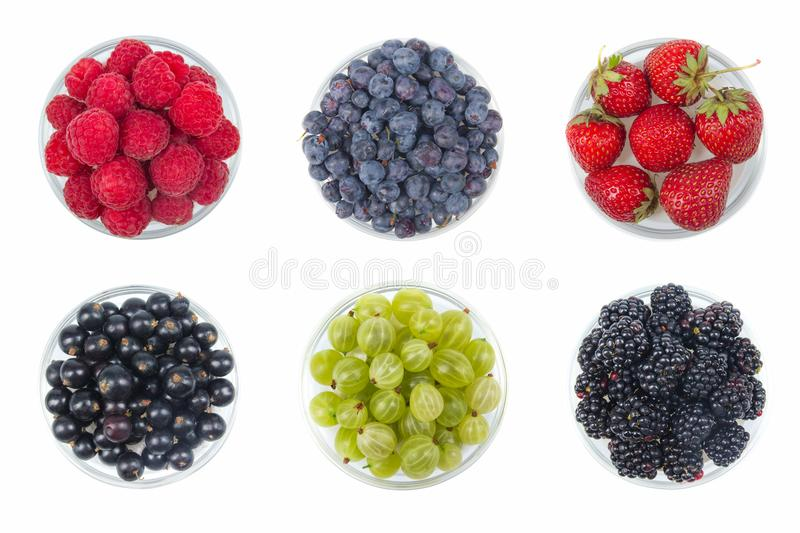 Berries on Isolated white background, bowl of Cherry, currant, blueberries, gooseberries, raspberries, blackberries royalty free stock image