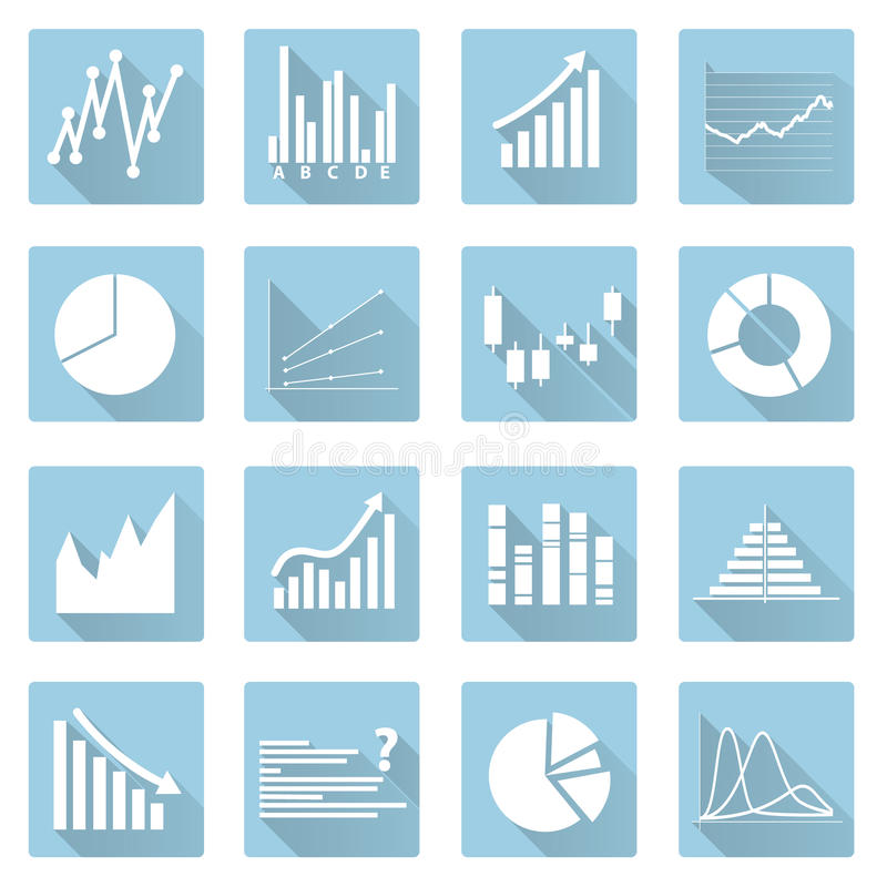 Various symbols. Of graphs flat blue icons royalty free illustration