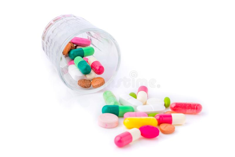 Various of Tablets mix heap drugs pills capsules therapy doctor flu antibiotic pharmacy medicine medical on white background stock images