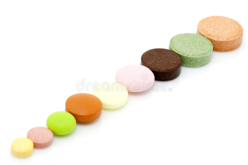 Various tablets in row royalty free stock images