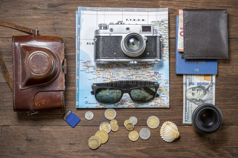 Various Things For Travel On A Wooden Background  Soviet