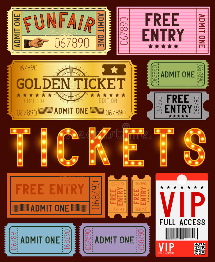 various ticket designs royalty free illustration