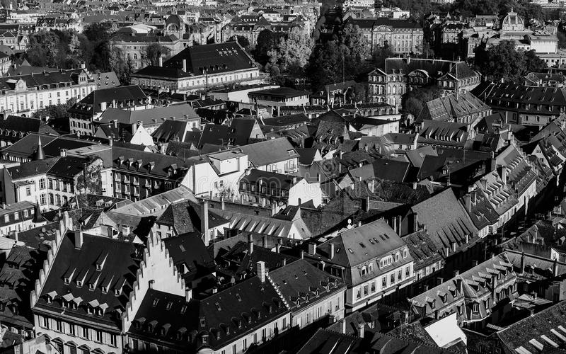 Various tiled roofs of historical buildings Strasbourg city center royalty free stock image
