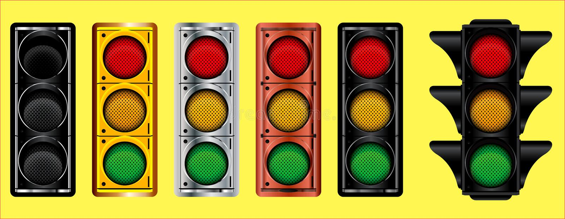 Various of traffic light design gold, bronze, silver, dark metal. royalty free illustration