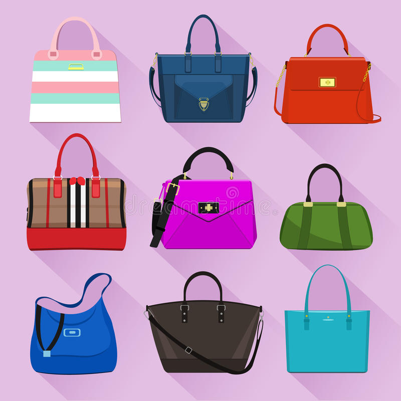 Various trendy women bags with colorful prints. Flat style. stock illustration