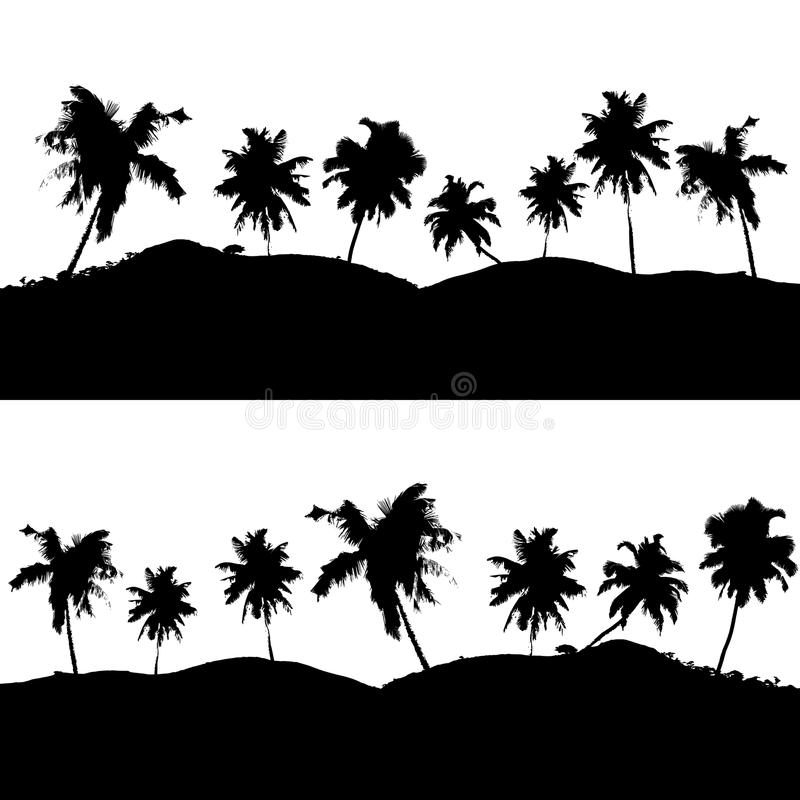 Various tropical palm tree landscape black symbols stock illustration